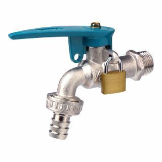 ก๊อกบอลสนามล็อคกุญแจ SANWA CKT15L 1/2นิ้ว สีฟ้า ทองเหลือง