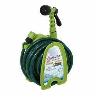 ชุดโรลพร้อมสาย PVC ถักใยเชือกSAKURA DGS2001 10ม.เขียว