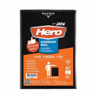 ถุงขยะดำมาตรฐาน L (12PCS) HERO 30x40ซม.